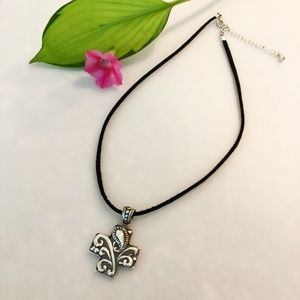 Jewelry - Black Suede Necklace with Cross Pendant